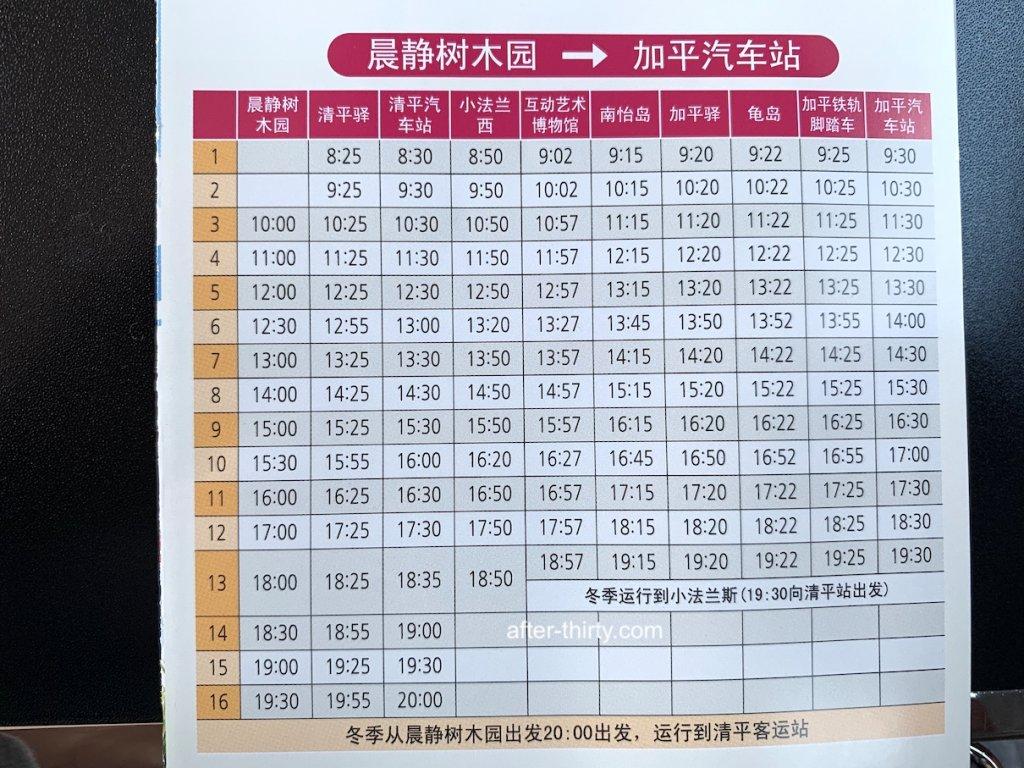南怡島一日遊-加平觀光巴士時間表